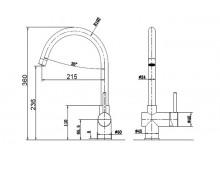 Смеситель кухонный  Fabiano FKM 39 S/Steel Antracit