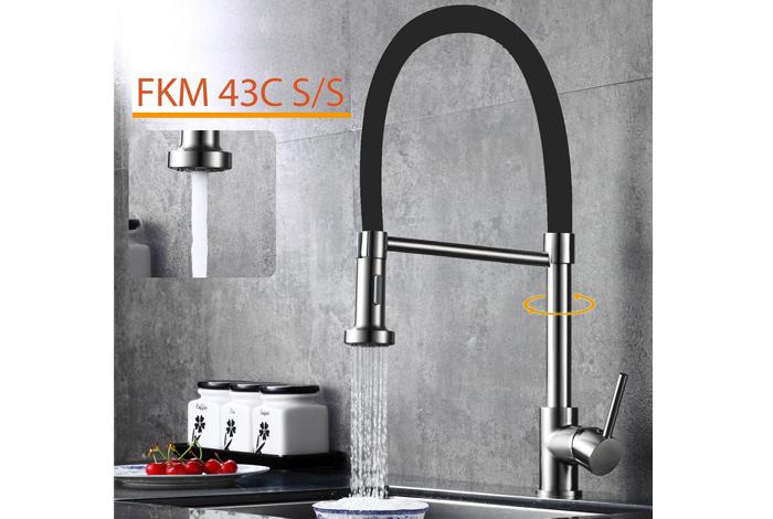 Смеситель кухонный Fabiano FKM 43C S/Steel Inox