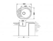 Кухонная мойка Fabiano Arc 62x50 Cream